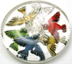 I'm going to try and add this to my collection! Vintage Reverse Painted Glass Button