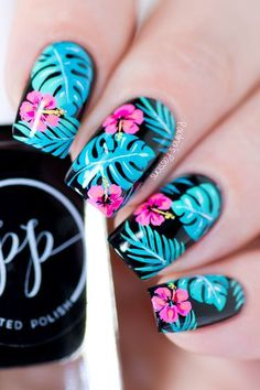 Jul 2018 - Summer Tropical Nail Art Design with step-by-step video tutrial. Perfect nail art for summer. I love the bright colors and the beautiful floral pattern. Tropical Nail Designs, Tropical Nail Art, Cute Summer Nail Designs, Cute Summer Nails, Pretty Nail Designs, Nail Art Designs, Nails Design, Summer Nail Art, Summer Design