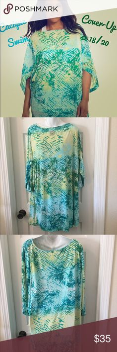 Cacique Swim Suit Coverup  Beach Pool Cruise Gorgeous Cacique (Lane Bryant) swim suit cover up in a reptile print in blue, green and yellow. Generous size 18/20 (listed as a 2X for POSHMARK sizing). NEW condition - there is a tiny hole in the size label where the hangtag was originally attached (see photo). Made of weighty, quick dry swim suit material. Cacique Swim Coverups