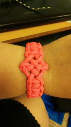 Neon Pink Paracord Bracelet with Focal Celtic Knot