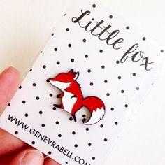 Little Fox Enamel Pin by genevrabell on Etsy