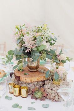 Wooden wedding centrepiece