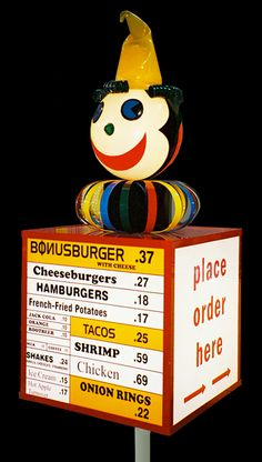 This is the Jack in the Box I remember from my childhood. Vintage Advertisements, Vintage Ads, Vintage Signs, Vintage Stuff, Vintage Menu, Vintage Food, Vintage Items, Great Memories, Childhood Memories