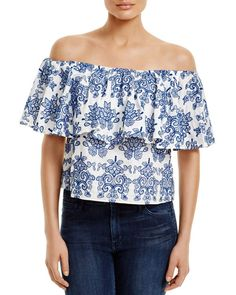 N Nicholas Embroidered Off-The-Shoulder Top