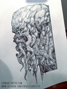 Cthulhu drawing WIP by TentaclesandTeeth