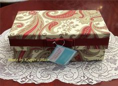 SOLD:...WAVERLY FABRIC COVERED KEEPSAKE STORAGE BOX JACOBEAN TAN RED CREAM NEW WITH TAG