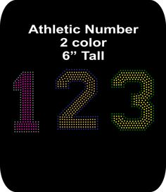 Rhinestone Bling - Iron-on - Motif - Athletic Number - Your choice 0-9 - Two color - 6 Inches tall - pinned by pin4etsy.com