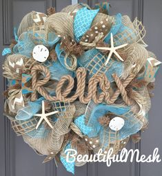 Relax Beach Burlap Deco Mesh Wreath with Seashells, Seashell Wreath, Sea Shell Wreath, Beach Wreath, Starfish Wreath