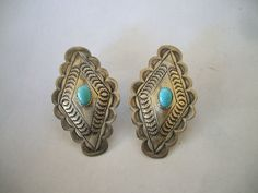Vintage NAVAJO Turquoise & Hand Stamped Sterling Silver Concho EARRINGS, pierced.  TurquoiseKachina, $80.10