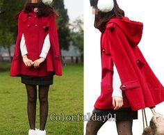 Women's Red Cashmere Coat Military Cape Coat Classical Double Breasted Wool Cape Coat Winter Spring Jacket   M,L on Etsy, $49.99