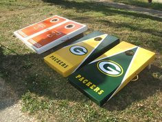 Green+Bay+Packers+Cornhole+Boards+and+bags+by+CustomBackyardgames,+$230.00