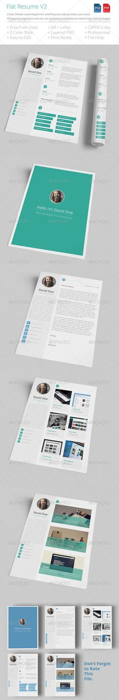 Download at http://graphicriver.net/item/flat-resume-v2/7301664 Flat Resume is Clean, flat design and elegant for anything your job with 4 piece. All layers can be changed, you can replace all the information on the resume in easy way with just a few clicks. › 4 piece (Cover, Cover Letter, Portfolio, Resume/CV) › 2 Style Portfolio › CMYK › 300 DPI › A4 & Us Letter › Print Ready › Flat Design › Clean › Easy To Use › Free Font Use › 1 Pdf File Help › Free Font Download › Smart Object