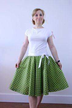 Green polka dots circle skirt for women rockabilly skirt