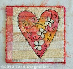 A little quilted heart tutorial: neutral quilting, foundation paper, a little stitching, crayons, textile medium.