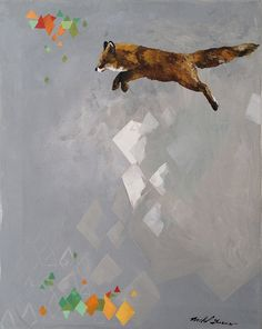 jumping fox an original painting on canvas by nicholduenes on Etsy