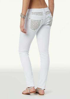 image of Pearl Stud Skinny Twill Pants