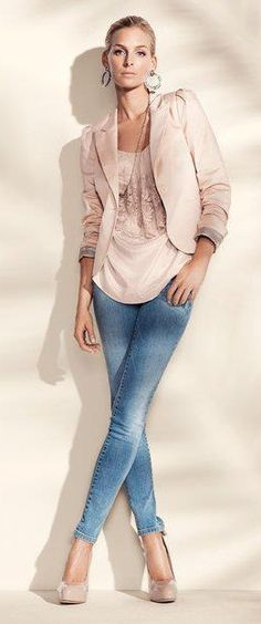 Jeans and Peachy Pink  =