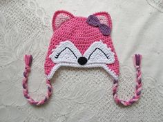Pink & Purple Colored Fox Crochet Hat - Wildlife Animals - With Bow - Winter Hat or Photo Prop - Available in Any Size or Color Combination Crochet Kids Hats, Crochet Bunny, Crochet Character Hats, Animal Hats, Girl With Hat, Pink Purple, Lilac, Crochet Projects, Crochet Patterns
