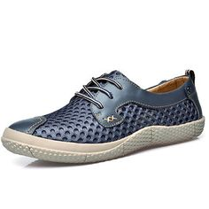 Men Breathable Honeycomb Lycra Mesh Lace-up Soft Loafers Casual Shoes
