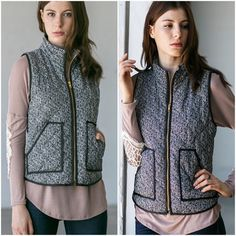 Tweed herringbone vests Padded vest with front zipper and herringbone design. Please do not purchase this listing. Comment with size and I will create a new listing for you. Small (2/4) Medium (6/8) Large (10/12). Price is firm unless bundled. Jackets & Coats Vests