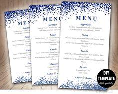 Wedding Menu Card Template,Blue Wedding Menu Template,Instant Download,Napkin Menu,Navy Blue Menu Template,Confetti Wedding by paperfull on Etsy