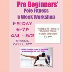 Register Online: Events Tab: Friday PreBeginners  https://clients.mindbodyonline.com/ASP/ws.asp?studioid=46937&sessionChecked=true
