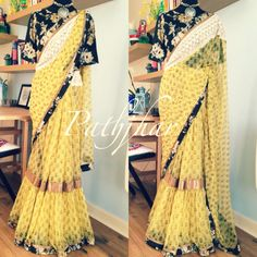 PATHJHAR by Ayush Kejriwal This frilled yellow hand block printed saree has a particular cool allure and style of it's own. The floral blouse and border gives it an interesting twist! For purchases email me at ayushk@hotmail.co.uk or what's app me on 00447840384707