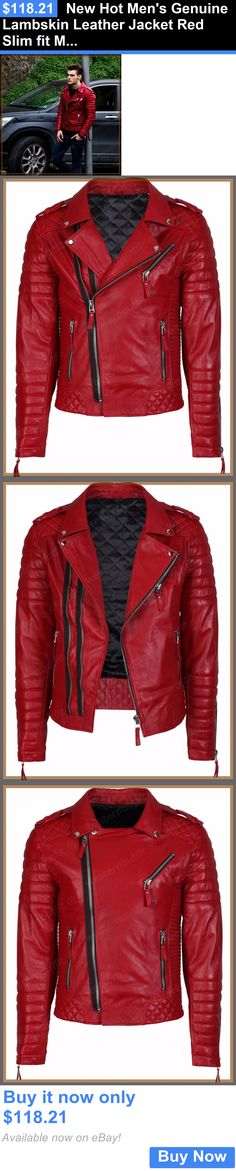 Men Coats And Jackets: New Hot Mens Genuine Lambskin Leather Jacket Red Slim Fit Motorcycle Jacket BUY IT NOW ONLY: $118.21