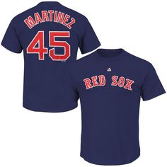 Pedro Martinez Boston Red Sox Majestic Cooperstown Collection Name & Number T-Shirt - Navy Blue