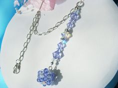 Lavender Crystal Ball Car Charm Swarovski by CrystalBlueDesigns Beaded bead as pendant.