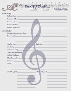 wedding plans in order with this handy DJ/Band Checklist. Free Wedding Planning Printables from Adorned Events!your wedding plans in order with this handy DJ/Band Checklist. Free Wedding Planning Printables from Adorned Events! Wedding Coordinator Checklist, Wedding Planning Binder, Wedding Binder, Wedding Planner, Event Planning, Wedding Ceremony Checklist, Reception Checklist, Wedding Agenda, Wedding Programs