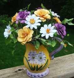 Purple and Yellow Paper Flower Arrangement by SweetPeaPaperFlowers, $25.00
