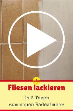 Für einen neuen Look im Bad musst du nicht gleich alle Fliesen abschlagen. Du kannst sie auch einfach lackieren!  #badezimmer #bad #fliesen #lack #video #videotutorial #diy #selbermachen