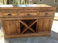 Wine cabinet/buffet modified from an Ana White plan and Pottery Barn modular bar design