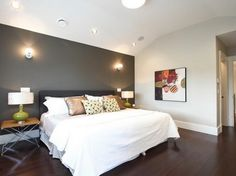 Grey accent wall home contemporary bedroom accent wall color for grey living room . Dark Accent Walls, Dark Grey Walls, Accent Wall Colors, Bedroom Wall Colors, Accent Wall Bedroom, Bedroom Color Schemes, White Walls, Peach Walls, Wall Colours