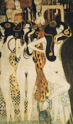 Die drei Gorgonen, darüber Krankheit, Wahnsinn und Tod, (Detail aus Die freundlichen Gewalten (1902. Gustav Klimt