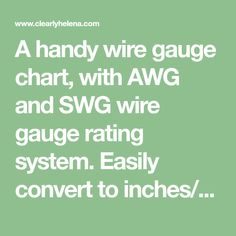 Pin by anna bass on millimeter to inches pinterest a handy wire gauge chart with awg and swg wire gauge rating system easily greentooth Image collections