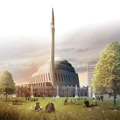 Designed by SADAR + VUGA in Pristina with date Images by SADAR + VUGA. The competition isn't over yet as the jury for the Central Mosque of Pristina Competition has announced two second pl. Mosque Architecture, Sacred Architecture, Religious Architecture, Architecture Board, Beautiful Architecture, Contemporary Architecture, Islamic Motifs, Islamic Art, Prize Competitions