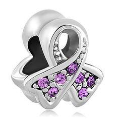 European Charm Bead Awareness Light Purple by SugarPieDesignsByKK, $3.50