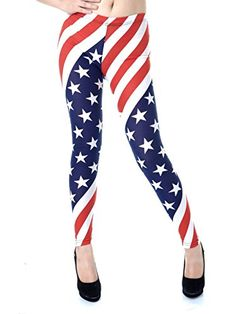 Get patriotic with theses red, #white and blue leggings. Leggings feature all-over American flag pattern and elastic waist. Pair these leggings with sparkling wh...