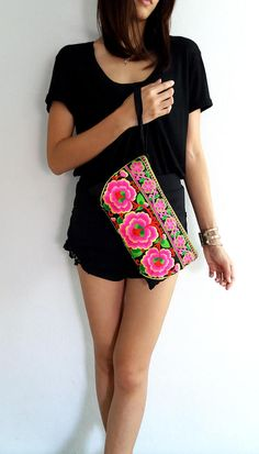 Hmong Old Vintage Style. Ethnic Embroidered Thai Boho Small