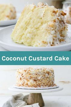 This Coconut Custard Cake is a vanilla cake flavored with coconut and layered with a decadent creamy coconut custard and frosted with cream cheese frosting. Cover this cake with shredded coconut for the ultimate coconut cake. Coconut Desserts, Coconut Recipes, Just Desserts, Baking Recipes, Delicious Desserts, Cake Recipes, Coconut Cakes, Best Coconut Cake Recipe Ever, Lemon Cakes