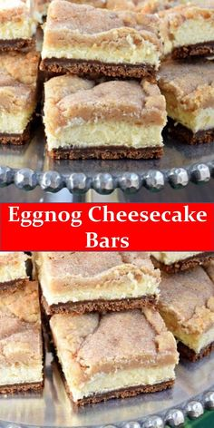 Your family's favorite food and drink ! Eggnog Cheesecake Bars Layers of gingersnap crust, creamy eggnog cheesecake filling, and topped with cookie bars, these Eggnog Cheesecake Bars are a holiday must. Creamy Cheesecake Recipe, Eggnog Cheesecake, Cheesecake Bars, Cheesecake Recipes, Shortbread Cookie Crust, Cookie Bars, Easy Holiday Desserts, Sweet Recipes, Kitchens