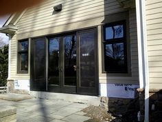 Newly installed doors and windows in Short Hills, NJ. Create your new patio or deck entrance by visiting www.mmbuilds.com ! Short Hills, Windows And Doors, Entrance, Garage Doors, Deck, Patio, Create, Outdoor Decor, Home Decor