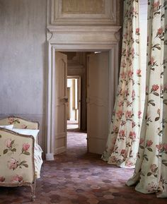 The draperies: Silk embroidered floral fabulousness. Love