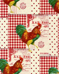 French Market - Roosters Prance - Cherry Red