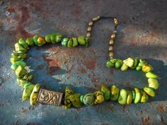 Earthy Green Chunky Stone Nugget Necklace with by ShastaMaggie