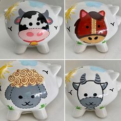 Personalized Barnyard Farm Animals -Cow,Horse,Goat,Lamb Party Favor Piggy Banks- 1st Birthday Christening , Communion by KUTEKUSTOMKREATIONS on Etsy Little Charmers, Piggy Banks, Personalized Party Favors, Baby Shower Centerpieces, Personalized Christmas Ornaments, Communion, Farm Animals, Christening, Goat