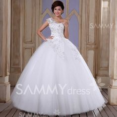 $213.23 Elegant One Shoulder Rhinestone Sequin Lace Flower Decorated Lace Up Vintage Wedding Dress For Bride