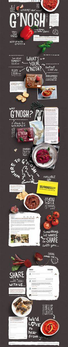 G'Nosh Website - Beautiful type, images, and layout